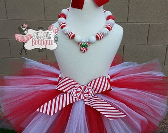 PEPPERMINT SWIRL- Red and White baby/child Tutu with hairbow:  Newborn-5T