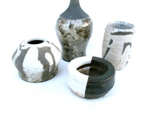 Midcentury Modern Style Pottery Collection Instant Collection Display Modern Ceramics Black White Gray Ceramics Artistic Pottery