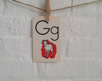 1950s Vintage Flashcard G is for Goat - Picture Flashcard