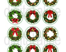 CHRISTMAS WREATH Craft Circles -Holiday Wreaths, Ivy,Evergreen - Instant Download Digital Printable-  -Bottlecaps ,tags, stickers, crafts