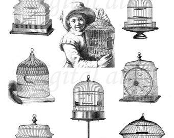 ANTIQUE BIRD CAGES - Instant Digital Download - Collage Sheet Printable - Birdcage Clip Art