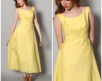 Vintage // Small // 1950's Yellow Dress - A-Line Tea Length