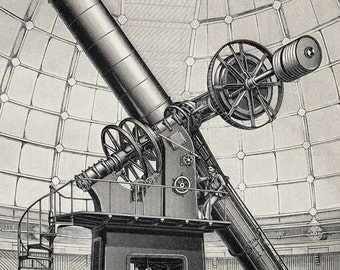 1898 Original Antique TELESCOPE print