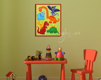 Dinosaur Jumble Wall Art Print for Children, 20x16 Giclee, Colorful Dinosaur Art for Kids Room
