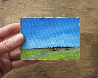 Miniature Prairie Landscape Painting, original tiny acrylic Western ranch or farm ACEO art painting on stretched canvas