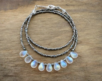Iridescent Glass Drop Necklace, white and silver gray frosted glass bead necklace with moonstone-like rainbow finish