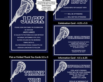 Lacrosse Bar Mitzvah Invitation, Lax Bar Mitzvah Invite, Lacrosse 13th Birthday Invitations, USE for ANY EVENT
