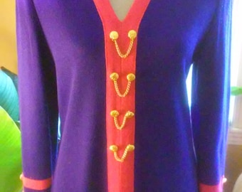 80s MITA--Pink and Purple Knit Sweater Dress--Golden Buttons and Chains--Vibrant and Eye-Catching--Size 10
