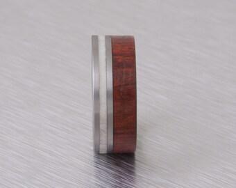 Antler Ring Titanium Ring man ring mens wedding band wood and antler ring with titanium band red heart wood ring
