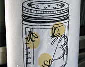 Retro Canning Inspired Ball Jar with Fireflies  Embroidered Kitchen Towel