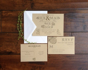 Succulent Wedding Invitation - Bohemian Wedding Invitation -Rustic Wedding Invitation - Kraft Paper Wedding Invitation - Floral Teal Green