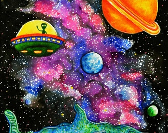 """Giclee print, 11"""" by 14"""" - The Whalien"""