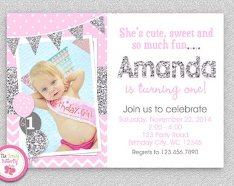 Pink Silver Chevron 1st Birthday Invitation , Girls first birthday , Pink Silver Glitter Invitation