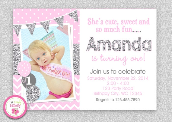 Pink Silver Chevron 1st Birthday Invitation Girls first birthday – Pink 1st Birthday Invitations