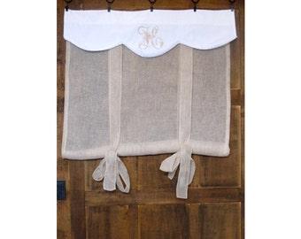 "Ecru French Linen Fleur de Lis Window Valance, Victorian Embroidered Monogram, Sheer Roller Shade, Bathroom Tie up Panel, 40"" Length"
