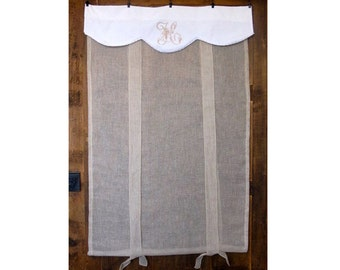 Victorian Embroidered Monogram, Sheer Linen Roll up Shade, Fleur de Lis Natural French Sash Window, 52 inch Length Bathroom Tie up Panel