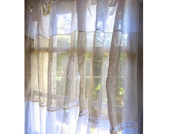 Paris Decor, Monogram Curtain, Sheer Linen Curtain, French Style, Fleur de Lis, White Window Drapery Curtain, Length 108 inches,