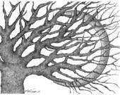 Crescent Moon & Tree Stipple Print 8 x 10