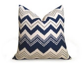 Decorative Ikat Chevron Pillow Cover - Navy Blue - 16 inch - Ikat Pillow - Linen Pillow - Toss Pillow - Throw Pillow - Zig Zag