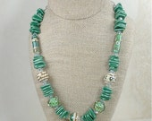 Handcrafted Lampwork and Ceramic Swarovski Crystal Beaded Necklace Greens and Cream