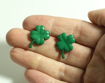 Green Four Leaf Clover Earrings - St Patrick's Day Jewelry - Repurposed button earrings in clip on or stud