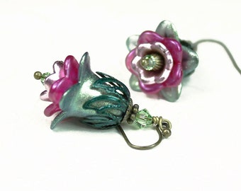 Vintage Style Hand Dyed Lucite Flower Earrings in Pinks and Greens, Antiqued Brass, Swarovski Crystal, Gifts for Her