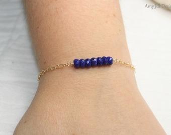 Lapis Bracelet, Gold Filled, Bar Beaded Bracelet, Blue Gemstone Jewelry, Lazuli Lapis Jewelry, December Birthstone