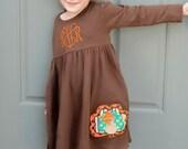 Thanksgiving Dress, Fall Knit Dress, Turkey Dress, Appliqued Dress, Embroidered Dress, Monogrammed Dress, Toddler Dress