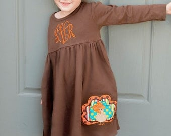 Thanksgiving Dress, Fall Knit Dress, Turkey Dress, Appliqued Dress, Embroidered Dress, Monogrammed Dress, Toddler Dress