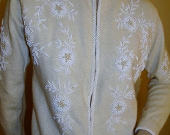 SALE  60's Prestige Originals Beaded White on White Lambswool Cardigan Sweater S/M
