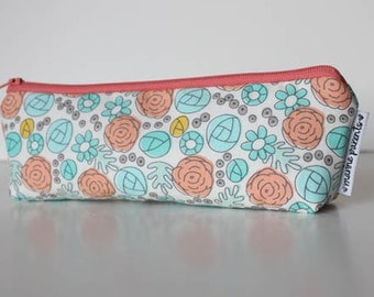 pencil pouch -- whimsy floral