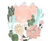 Cactus Mountain Dream Art Print 8 x 10