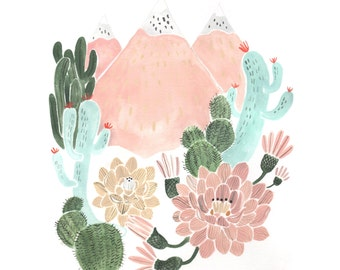 Cactus Mountain Dream Giclee Art Print 8 x 10