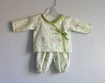 Baby Boys Pants and Top Outfit - Infant Kimono - Monkeys Among the Banana Leaves - Baby Boy Clothes - Size 3m, 6m or 9m