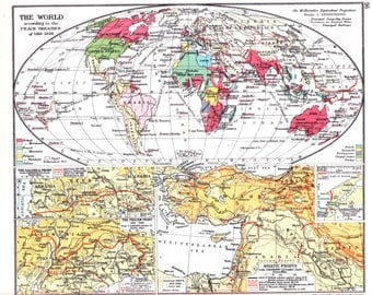 Historical World map from 1938 atlas, historical map of the World according to 1919 Peace Treaties