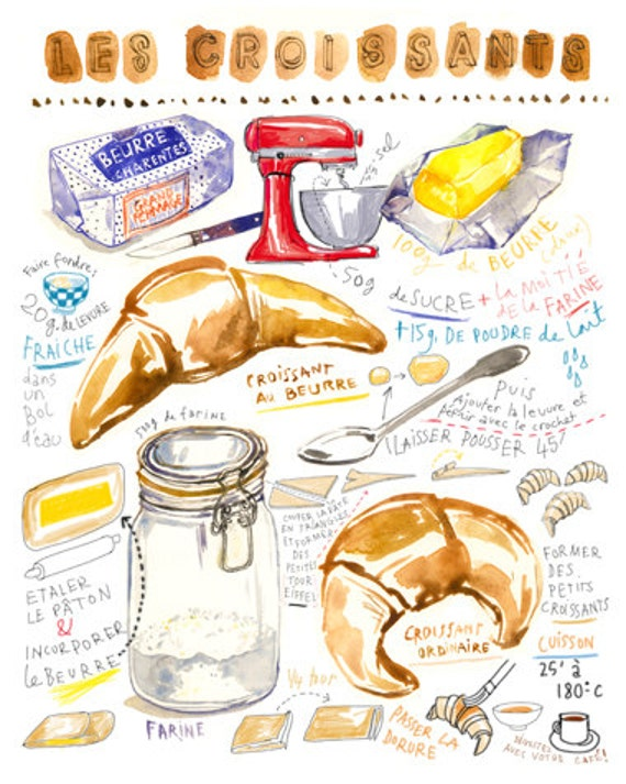French croissant illustrated recipe print, Kitchen art, Food poster, Bakery decor, 8X10 cake art, Kitchen decor Food watercolor illustration