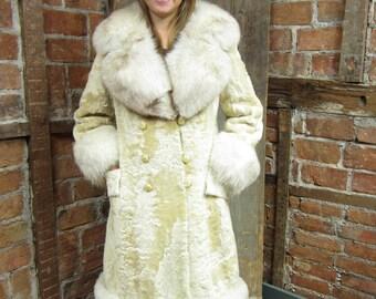 Cream Lamb Coat - Norwegian Blue Fox collar, Cuffs and Border 1970s