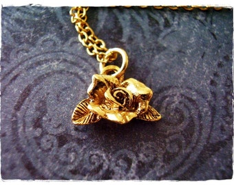 Gold Blooming Rose Necklace - Antique Gold Pewter Rose Charm on a Delicate Gold Plated Cable Chain or Charm Only