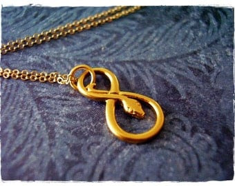 Gold Infinity Snake Necklace - Matte 24kt Gold Plate Infinity Snake Charm on a Delicate 14kt Gold Filled Cable Chain or Charm Only