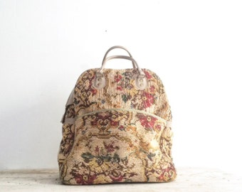 Vintage Floral Needlepoint Tapestry Duffle Bag, Upholstered Duffle, Tapestry Bag, Vintage Luggage, Overnight Bag, Carryon Luggage
