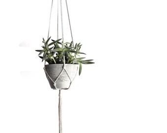 Small Modern Hanging Planter, Concrete Planter, Indoor Hanging Planter, Macrame Hanging Planter, Cement Planter, Grey Planter