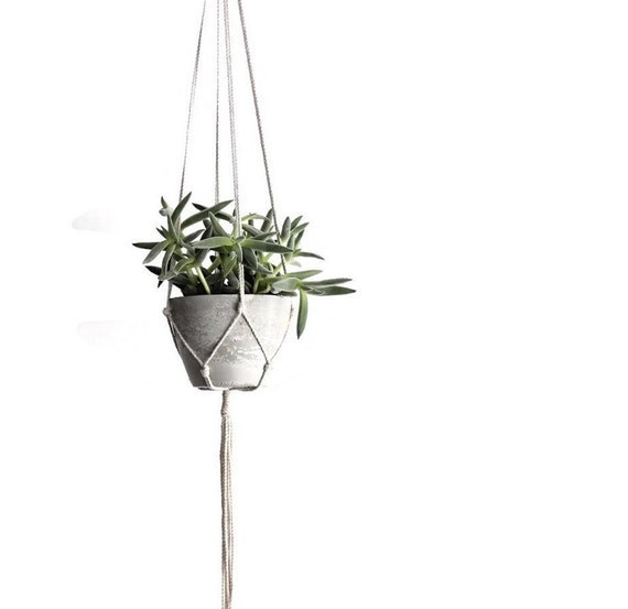 Small Modern Hanging Planter, Concrete Planter, Indoor Hanging Planter ...