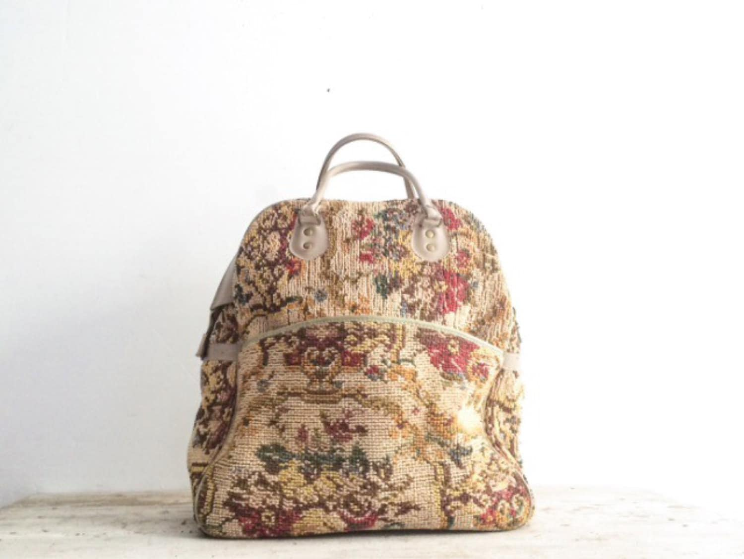 Vintage Floral Needlepoint Tapestry Duffle Bag By Fraeandco