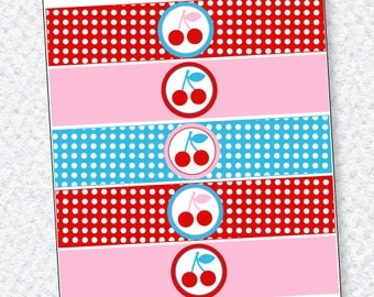 Retro Cherry Party PRINTABLE Birthday Drink Labels (INSTANT DOWNLOAD) from Love The Day