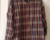 80s Men's Plaid Shirt / 1980s Button Shirt / Vintage Stripe Parkshire L