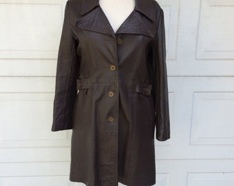 Dark Brown Long Leather Trench Coat 70s Vintage Wide Collar Belted Womens Over Coat Small