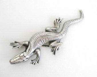 BLACK FRIDAY SALE Vintage Sterling Silver Lizard Pin / Brooch