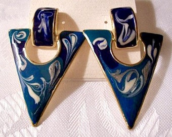 Blue White Triangle Hoop Pierced Earrings Gold Tone Vintage Striped Edge Square Top Trapeze Connector