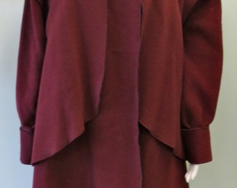 Classic Vintage 1980s Burgundy  Merle Chicago Wool Coat