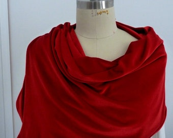 Red velvet scarf with blue under tone